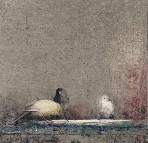 Pájaros II · Técnica mixta/Papel/Tabla · 26 x 50 cm